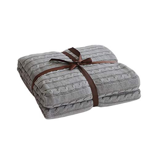 Handgemachte Strickdecke Platzdecke Wohndecke Decke Für Bett Sofa Couch Bank,Grau,180x200cm