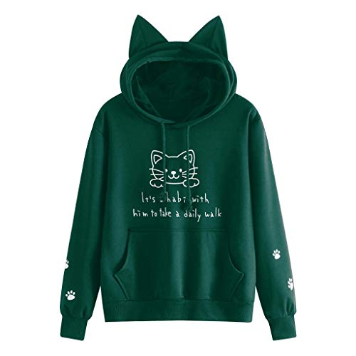 Lowest Price! Gleamfut Womens Printed Hoodies Autumn Casual Long Sleeve Cat Ear Hooded Tops Pocket S...