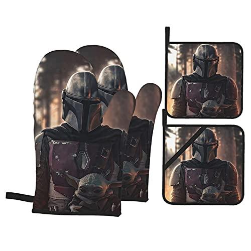 TIGGA Star Mandalorian Wars - Juego de guantes de aislamiento para horno y ollas (tela impermeable de doble cara)