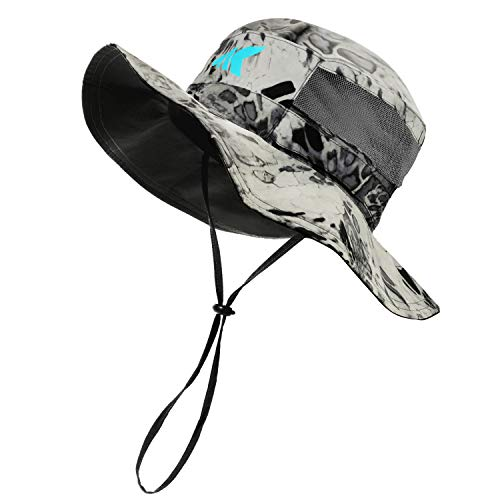 KastKing Sol Armis UPF 50 Boonie Hat - Sun Protection Hat, Fishing Hat - Breathable Fabric - Comfortable - Prym1 Camo,Silver Mist