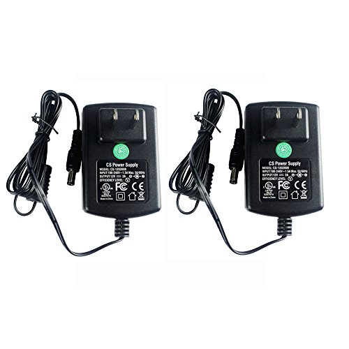 2 Packs AC Adapter DC 12V 2A Power Supply 5.5x2.1mm for CCTV Cameras DVR Strip LED UL Listed FCC
