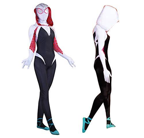 MYanimec Unisex Lycra Spandex Zentai Halloween Cosplay Costumes Adult/Kids 3D Style (Adults-XXL White and Black … … …