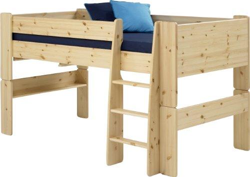 Steens For Kids Kinderbett, Hochbett, inkl. Lattenrost und Absturzsicherung, Liegefläche 90 x 200 cm, Kiefer massiv, natur lackieret