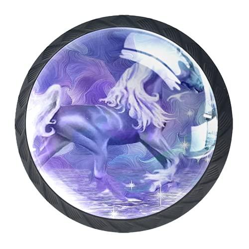 LXYDD Manijas para cajones Perillas para gabinetes Perillas Redondas Paquete de 4 para Armario, cajón, cómoda, cómoda, etc. Unicornio Morado Abstracto