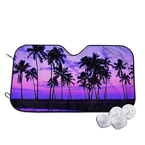 Hitamus Tropical Palm Tree Sunset Purple Windshield Sun Shade Foldable Car Front Window Sunshade for Most Cars SUV Truck - Blocks UV Rays Sun Visor Protector to Keep Your Vehicles Cool, 55