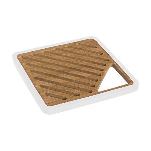 Home Gadgets sous-Plat de Cuisine en Bois, Bambou et Silicone, Marron 20 cm