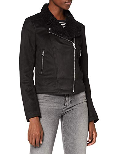 TOM TAILOR Denim Damen Faux Velour Biker Jacke, 14482-Deep Black, L
