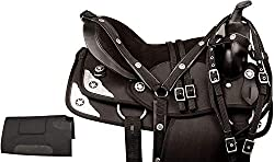 top rated Synthetic Western Blurique Silver Texas Star Quarter Horse Saddle with Potholder and Comfortable Seat. 2021