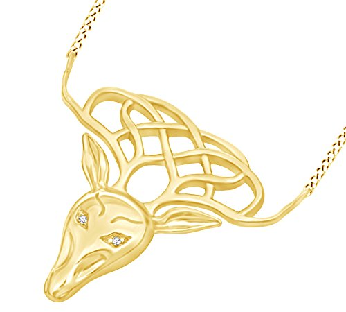 AFFY White Cubic Zirconia Celtic Stag Pendant Necklace in 14k Yellow Gold Over Sterling Silver