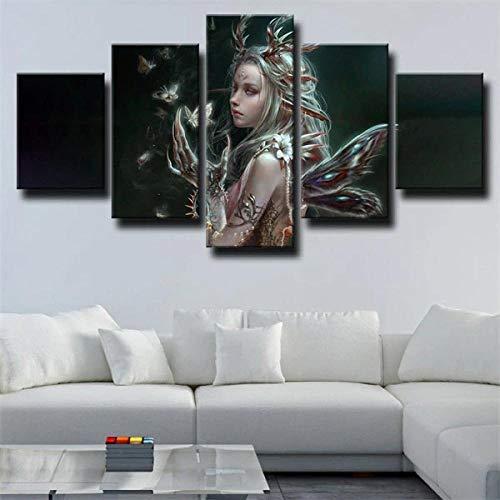GHYTR Cuadro En Lienzo Decoracion 5 Piezas HD Imagen Impresiones En Lienzo Póster Pintura Fantasy Butterfly Mujer Negro 5 Piezas Cuadro Moderno XXL 150X80Cm Murales Pared Oficina Decor