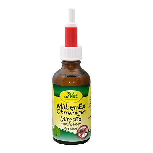 cdVet Naturprodukte MilbenEx Ohrreiniger 50 ml - Hund&Katze - befreit das Ohr von Milben - Abwehr von Ohrmilben und zur Reinigung und Pflege - äußere Gehörgänge -  einfache Anwendung -