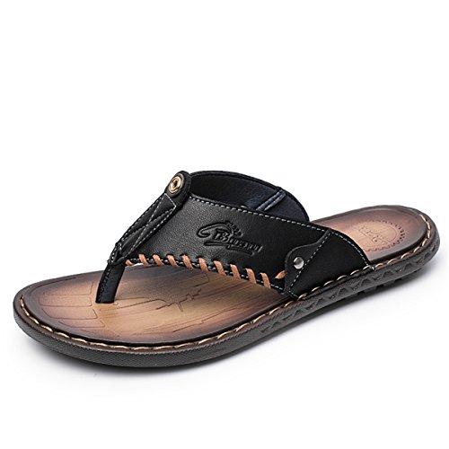 gracosy Unisex-Erwachsene Sandalen, Herren Zehentrenner Flach Sommerschuhe Anti-Rutsch Hausschuhe Comfort Outdoor Sandalen Sommer Strandschuhe Schwarz Blau Braun, MEHRWEG