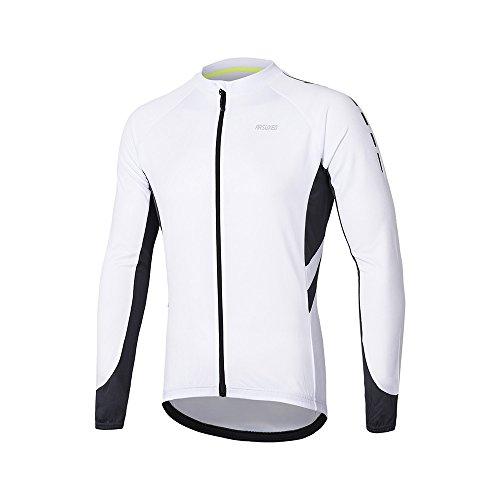 ARSUXEO Maillot de Ciclismo para Hombre Camisa de Manga Larga con Cremallera...