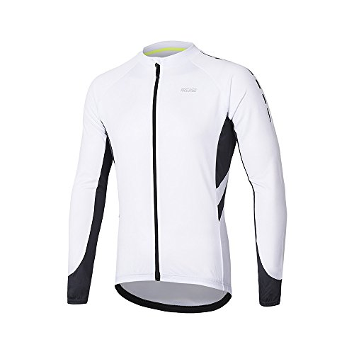 Arsuxeo Camisa de Manga Larga de la Cremallera Completa un Ciclo Jersey de la Bicicleta MTB Bike 6030 para los Hombres Blue