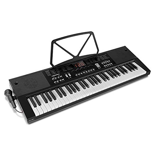 2021改良版 SANMERSEN 電子キーボード 61鍵盤 電子ピアノ 200種類音色 61種類ドラム 200曲模範曲 200種類リズム 日本語パネル イヤホン対応 日本語パネル 光る鍵盤 USB給電 初心者 譜面立て マイク 日本語取扱書付き