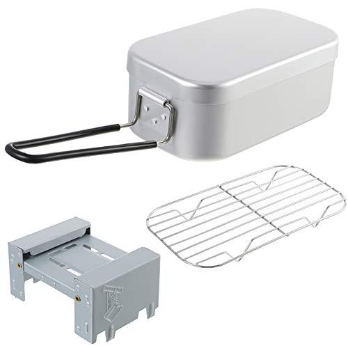 WHCL Recipientes de Almuerzo de Metal japonés, Kit de Desastre de Utensilios de Cocina para Acampar, Caja de bento portátil de Aluminio con Estufa de Gas Plegable para Camping Senderismo y Picnic