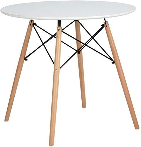DORAFAIR Esstisch Weiß Rund Küchentisch Modern,Weiß Skandinavisch Esszimmertisch, Beine Natur,80 * 80 * 75cm