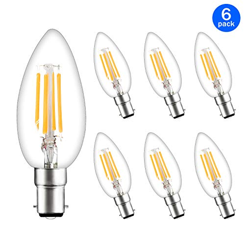 Svater 6 Pack LED Candle Bulb C35 B15 2700k Warm White Led Lamps Candle Shape 4W Small Vintage Screws Filament Candelabra LED Brine Replaced 40W Bulb 360°Beam Angle Non Dimmable
