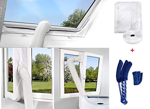 400CM Fensterabdichtung Für Mobile Klimageräte und Abluft-Wäschetrockner Hot Air Stop zum Anbringen an Fenster, Dachfenster, Flügelfenster (Fensterabdichtung +Duster Reinigungsbürste)