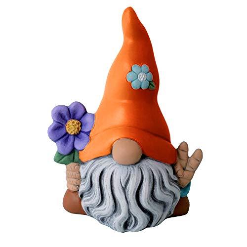 HeiHeiDa Magic Goblin Dwarf Gnome Sculpture Ornaments Garden Drcoration Long Beard Grandpa Ornaments Birthday Gifts
