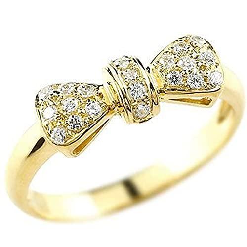 [アトラス]Atrus リング レディース 18金 イエローゴールドK18 ダイヤモンド リボン 指輪 エンゲージリング ストレート 22号