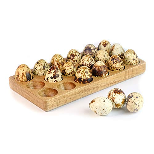 Wooden Quail Egg Holder - Stores 18 Eggs on the Countertop or in the Fridge - Use as Serving Tray forDeviled Quail Eggs, Mini Appetizers