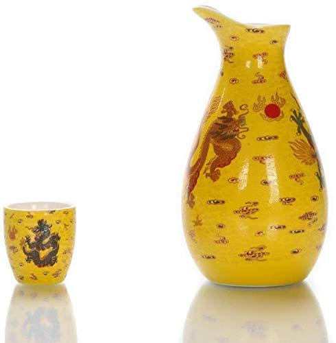 Wall Spotlights~mwsoz Sake-Set Botellas y Juegos de sakeJuego de Sake de 9 Piezas, artesanías Retro de cerámica de dragón Colorido Amarillo de Estilo japonés
