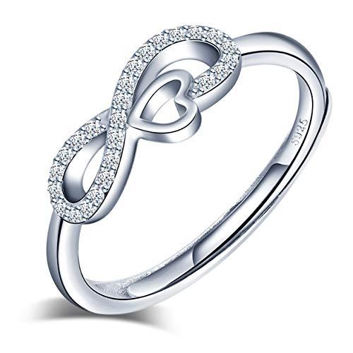 Anelli aperto in argento 925 per donna, anello simbolo infinito intarsiato con zircone - anelli di fidanzamento di nozze - Misura regolabile - Regalo di compleanno di Natale