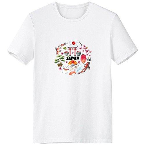 Japan Cultuur Leuke Japanse Stijl Aquarel Nationale Vlag Lucky Cat Sakura Sushi eetstokjes Carp Archway Lantaarn Illustratie Crew-Neck Wit T-shirt Lente en Zomer Tagless Comfort Katoen Sport T-shirts