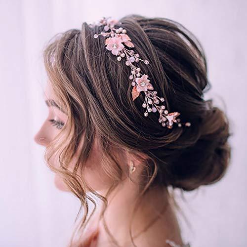 Unicra Braut Hochzeit Haar Weinblatt Stirnband Einfache Kopfschmuck Brautschmuck Haarschmuck für Frauen (Roségold)