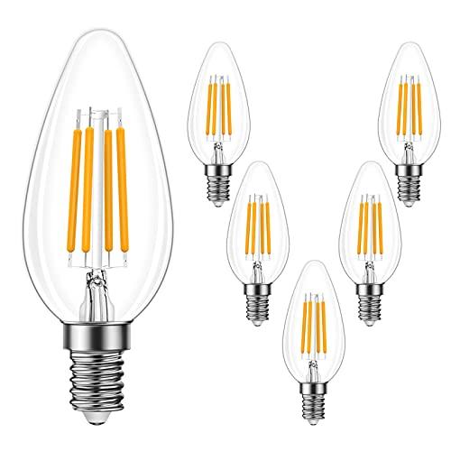 Wowatt Bombilla LED E14 4W Vela de Filamento 2700K Blanco Cálido 550 Lúmen Casquillo Fino Retro Vinatge Edison LED E14 4W Equivalente 60W No Regulable- Pack de 6 Unidades