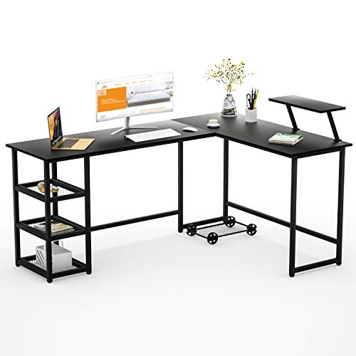Aiden L-Shaped Corner Computer Desk Table, Large and Spacious for Dual Monitors with 2 Storage Shelves, Perfect for Home Office, Writing Workstation, Gaming (Aged Oak)