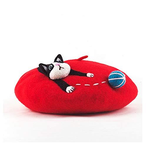 Hui Ni Holiday Animal speelse vrouwen Handgemaakte Berets Wool Pet Cartoon Leuke Nieuwigheid Handgemaakte Hat Ronde Girl Hoed (Color : Red, Size : 56-58CM)