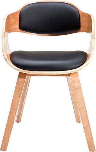 Kare 78580 Stuhl mit Armlehne Costa Beech, moderner, bequemer Esszimmerstuhl, Schwarz-Hellbraun (H/B/T) 70,5x52x51cm