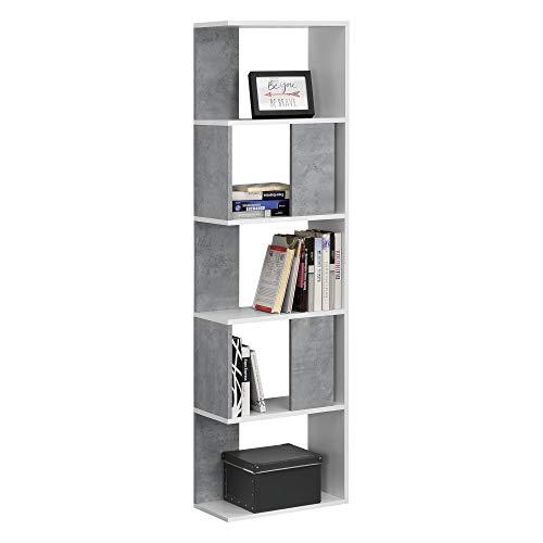 [en.casa] Libreria a 5 Ripiani 159 x 45 x 23,5 cm Scaffale in Design Moderno Mobile Portaoggetti per Soggiorno - Colore Bianco e Effetto Cemento