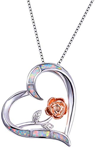 NC520 Boho Female Blue White Fire Opal Necklace Cute Big Flower Heart Pendants Necklaces for Women