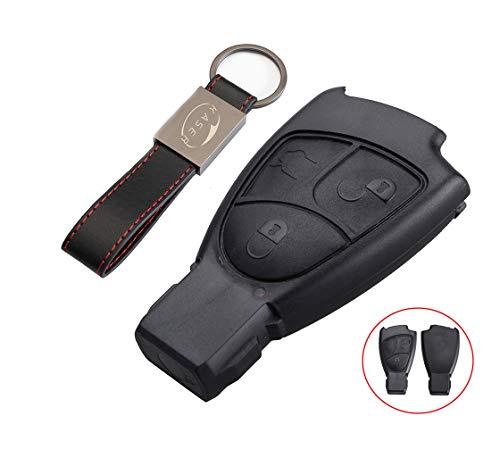 Schlüssel Gehäuse Fernbedienung für Mercedes 3 Tasten Autoschlüssel Funkschlüssel Benz Classe B C e CLK SLK (ohne Logo) mit Leder Schlüsselanhänger KASER