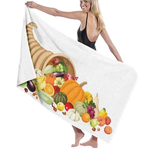 Toalla de baño Microfibra Toalla de baño súper Suave Cuerno de Cuerno de la abundancia de otoño Muchas Frutas Verduras Alta absorción de Agua, Multiuso 80cm * 130cm para baños, hoteles, gimnasios y