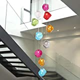 Lámpara de techo Escalera Lámparas LED de color bola de la burbuja Salón Comedor Villa Dúplex Lámparas giratorias