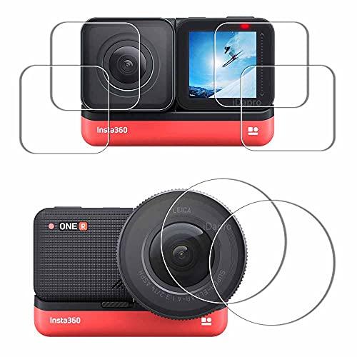 Protector de lente y pantalla para Insta360 ONE R 1 'LEICA lente + pantalla LCD + lente 4K [2+2+2 unidades], iDaPro vidrio templado sin burbujas