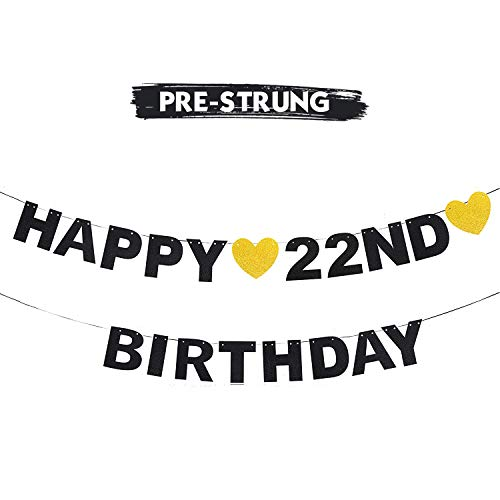 AERZETIX Happy 22nd Birthday Banner Black Glitter 22 Years Old Bday Anniversary Party Decoration Sign for Women Men
