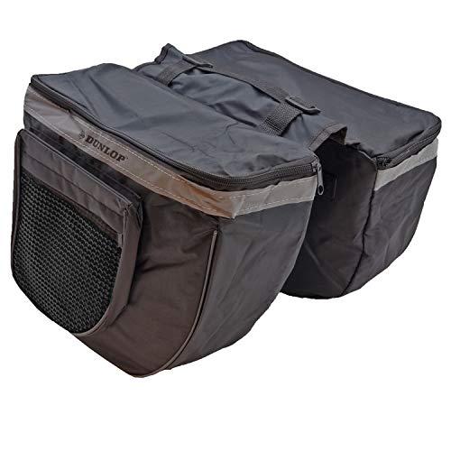 DUNLOP. Doppel Satteltasche Fahrradtasche Gepäckträger Wetterfeste Tasche Fahrrad Einkaufstasche (Schwarz)