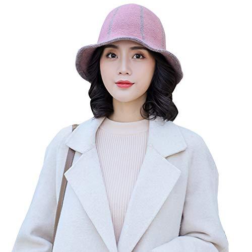 Folding Sombrero de invierno plegable para mujer, color rosa