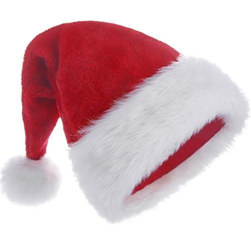 HUICOCY Santa Hat,Unisex Velvet Fabric Christmas Hat with Comfort Lining&Plush Brim