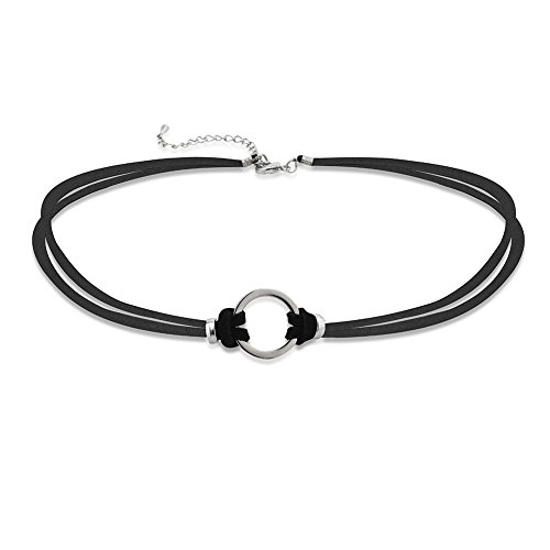 Zinc Open Circle Two (2) Black Soft Suede Leather Strands Choker Collar Necklace, Expandable 16-18\