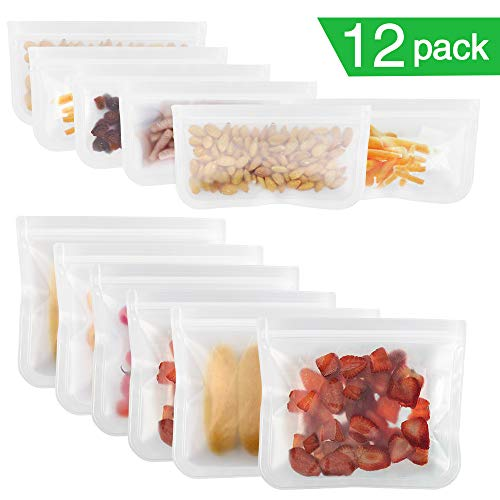 Redmoo 12 Pack Wiederverwendbarer Lebensmittelbeutel, Obst-und Gemüsebeutel Gefrierbeutel PEVA Aufbewahrungsbeutel Sandwichbeutel Küche Beutel für Gemüse Milch Snacks Fleisch, FDA-Qualität