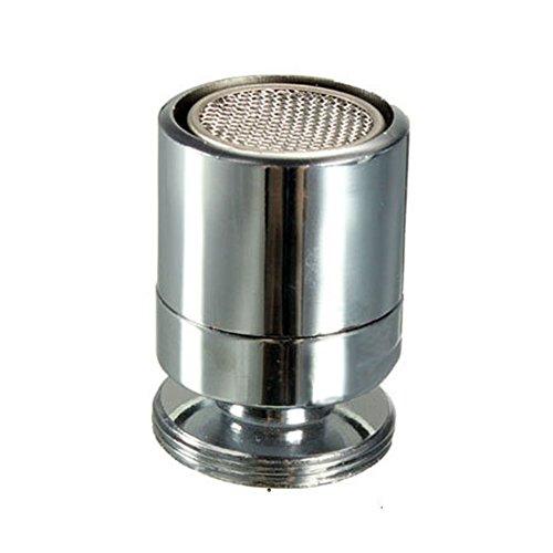 Luftsprudler für Wasserhahn, 24 mm, männlich, spritzwassergeschützt, verchromter Messing-Auslauf, Filter für Zuhause (Silber)