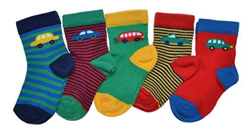 WB Socks 5 Paires de Chaussettes Bébé Garçon - Motif de Voiture
