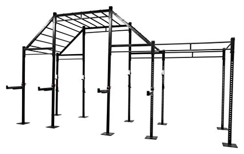Bad Company freistehendes Monkey Gym Rig I Multifunktionaler Power Cage ausgelegt für das Ganzkörper Gruppentraining inkl. verschiedenen Langhantelablagen