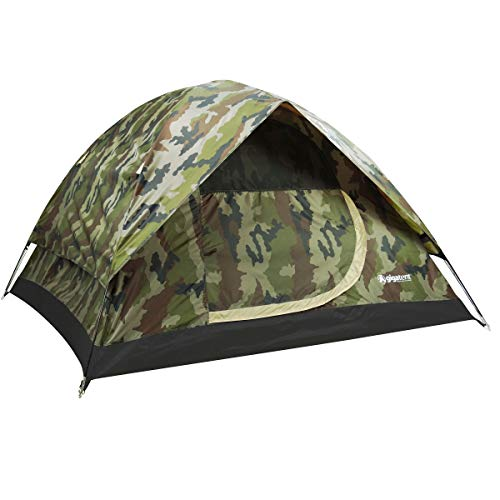 """GigaTent Camouflage Dome 3-4 Person Camping Pop-Up Tent – Spacious, Lightweight, Heavy Duty – Weather and Flame Resistant Outdoor Hiking Gear – Fast, Easy Setup – 7'x7' Floor, 52"""" Height"""